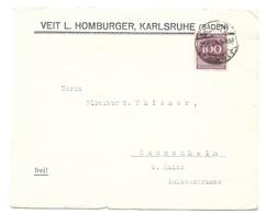 """Karlsruhe - Deutsches Reich - Lettre -  """"Veit L. Homberger, Karlsruhe"""" Vers Gonsenheim, Mi. 268; 1923 - Allemagne"""
