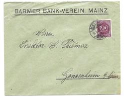"""Mainz - Deutsches Reich - Lettre -  """"Barmer Bank-Verein, Mainz"""" Vers Gonsenheim, Mi. 268; 1923 - Allemagne"""