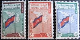 LOT 1633 - 1961 - ROYAUME DU CAMBODGE - PAIX - N°98 à 100 NEUFS** - Cambodge