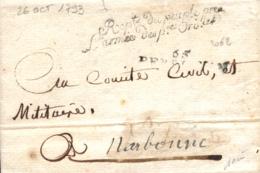 """1793. Carta Con La Marca """"Rep. Du Peuple Pres L'Armée P. Or."""". Preciosa. - Guerres"""