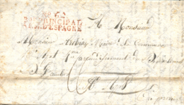 1810. Carta De Alba De Tormes A Ajat (Francia). Marca Nº 6 / BAU. PRINCIPAL / ARM. D'ESPAGNE En Rojo. Tizón IX-91. Muy R - Guerras