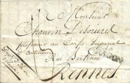 """1811. Carta De Un Soldado Francés De Bayona A Rennes (Francia). Marca """"Jª ARAGON"""" En Negro De Jaca. Entrada En España Po - Guerras"""