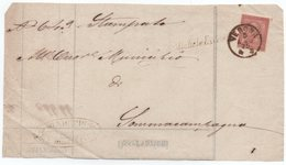 Frammento Di Stampe Fra Sindaci Da S. Michele Extra A Sommacampagna 5.8.1875 Con Collettoria Corsivo S. Michele Extra - 1861-78 Victor Emmanuel II.