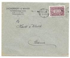 """Köln - Deutsches Reich - Lettre -  """"Dyckerhoff & Mayer - Papierwarenfabrik ..."""", Mi. 247 , 1923 - Allemagne"""