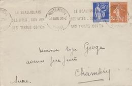 """LSC 1938 - Cachet Villefranche Sur Saone &Flamme """"le Beaujolais Ses Sites Son Vin Ses Tissus Coton""""&au Dos """"..loterie ."""" - Marcophilie (Lettres)"""