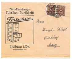 """Freiburg - Deutsches Reich - Lettre -  """"Büro-Einrichtungs-Fabriken Fortschritt - Freiburg ..."""" Vers Mainz, Mi. 208, 1923 - Allemagne"""
