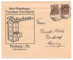 """Freiburg - Deutsches Reich - Lettre -  """"Büro-Einrichtungs-Fabriken Fortschritt - Freiburg ..."""" Vers Mainz, Mi. 208, 1923 - Deutschland"""
