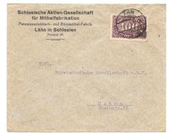 """Lähn Schlesien - Deutsches Reich - Lettre -  """"Schlesische Aktien-Gesellschaft ..."""" Vers Mainz, Mi. 208, 1923 - Allemagne"""