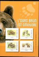FRANCE, 2019, MNH, BROWN BEARS, BEARS, SELF-ADHESIVE SHEETLET OF 4v - Bears