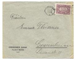 """Wiesbaden- Deutsches Reich - Lettre -  """"Dresdner Bank Filiale Mainz"""" Vers Gonsenheim, Mi. 208, 1923 - Allemagne"""