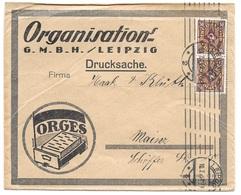 """Leipzig - Deutsches Reich - Lettre -  """"Organisations-G.M.B.H./Leipzig ... ORGES"""" Vers Mainz, Mi. 208, 1923 - Allemagne"""