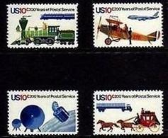 1975 USA Postal Service Bicentennial Stamps Sc#1572-75 Space Satellite Plane Train Stagecoach Horse Trailer Truck Post - Post
