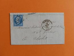 EMPIRE DENTELE 22 SUR LETTRE DE NANTES A CHOLET DU 18 NOVEMBRE 1863 (GROS CHIFFRE 2602) - Postmark Collection (Covers)