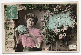 Joyeuses Pâques --1914-- Femme ,fleurs Et Gros Oeuf - Pâques