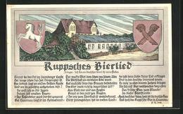 AK Lauenau, Brauerei Und Restaurant Felsenkeller, Ruppsches Bierlied - Cartes Postales