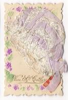 VIVE  SAINTE-CATHERINE  ( Fleurs Gaufrées Et Superbe Bonnet En Dentelle Et Broderie ) /  CARTE  BRODEE - Brodées