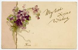 MY BEST XMAS WISHES : BOUQUET OF FLOWERS / POSTMARK - RICHMOND / ADDRESS - GRAYS, ARGENT STREET - Christmas