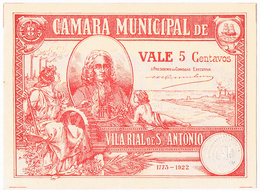 VILA REAL DE SANTO ANTÓNIO - CÉDULA DE 5 CENTAVOS DA CÂMARA MUNICIPAL DE VILA RIAL De SANTO ANTÓNIO. - Portugal