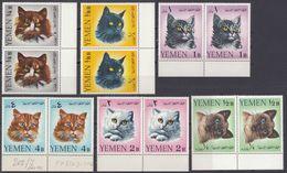 YEMEN - 1965 - Serie Completa Yvert 202/207 In Coppie Nuove MNH Con Margini Di Foglio, Raffigurante Gatti Diversi. - Yémen