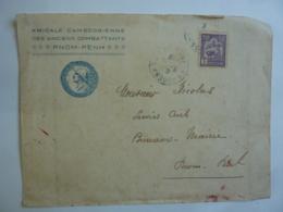 CAMBODGE Amicale Cambodgienne  Enciens Combattants Cachet PRO PATRIA  1914 1918 Timbre Indochine  MAR 2019  03 - Indochine (1889-1945)