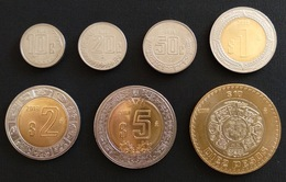 MEXICO 2018 STANDARD CURRENCY 10c To $10 7 COIN SET Incl. Bimetallics, And Rare 10c & 20c Coins, BU Unc. - Mexico