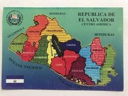 Circulated Postcard El Salvador Map( Fire Fighter Stamps ) - El Salvador