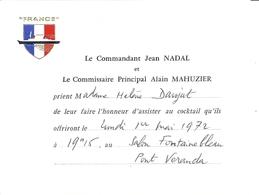 """""""FRANCE"""" LE COMMANDANT JEAN NADAL ET LE COMaire ALAIN MAHUZIER .... COCKTAIL 1 MAI 1972 AU SALON FONTAINEBLEAU - Documenten"""