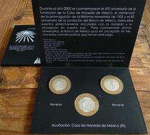 MEXICO 2005 BIMETALLIC COIN SET Bank Of Mexico Folder 3 BU Coins Special $100 Commemoratives, Silver Center, Sold Out - Mexico