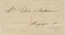 1828 - Lettre De LIMA ( Marque Rouge ) Pour Arequipa - Pérou