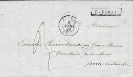 1849 - Lettre En Port Du De St OMER ( Pas De Calais ) Pour St Ghislain ( Belgique) R. FRONT. Encadré Noir - Marcophilie (Lettres)