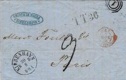1862- Lettre De KIOBENHAVN En Port Du Par Hamburg - T T 36  + Taxe 9 D  Pour La France - 1851-63 (Frederik VII)