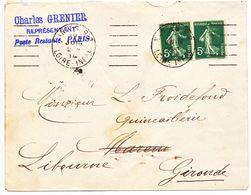 LOIRE INFERIEURE ENV 1914 NANTES R.P. OMEC MACHINE GARCIA BELLE FRAPPE NON CITE AU CATALOGUE - Marcophilie (Lettres)