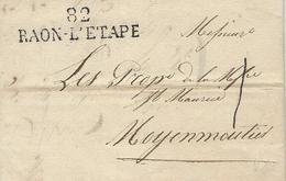 1827-lettre De 82 / RAON-L'ETAPE ( Vosges ) 46 X 12 Mm Noir Taxe 1 D. Pour Moyenmoutiers - 1801-1848: Précurseurs XIX