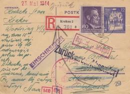 GG Schweiz: Einschreiben Krakau, Zurück An Absender - Zensurstelle, Riß - Occupation 1938-45