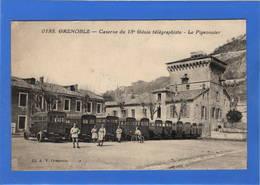 38 ISERE - GRENOBLE Caserne Du 18ème Génie Télégraphiste, Bel Ensemble De Camions - Grenoble