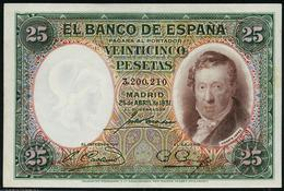 1931 Billete 25 Ptas SC++ Numeración Sin Serie - [ 2] 1931-1936 : Republiek