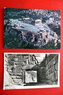 2 X Athen - Luftansicht Akropolis - Antike - Tempel - Mykene Löwentor - Griechenland - Grèce