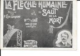 Cirque - La Fléche Humaine Ou Saut De La Mort 14métres De Saut Dans Le Vide à Bicyclette - 2 Scans - Circo
