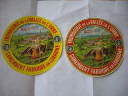 Lot 2 Etiquettes Fromage NEUVES  Meuse 55T Fromagerie HURAULT à Dieppe Fermière Usine Belle Vache Médaille - Cheese