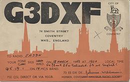 X120930 CARTE QSL RADIO AMATEUR G3DXF GRANDE BRETAGNE GREAT BRITAIN ANGLETERRE ENGLAND COVENTRY EN 1952 DEUX SCANS - Radio Amateur
