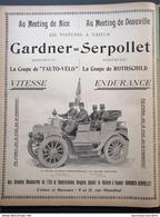 1901 PUB - LES VOITURES À VAPEUR GARDNER=SERPOLLET - MEETING DE NICE - DE DEAUVILLE - COUPE DE L'AUTO-VÉLO Et ROTHSCHILD - Livres, BD, Revues
