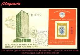 AMERICA. COLOMBIA SPD-FDC. 1968 CENTENARIO DEL PRIMER SELLO POSTAL DE ANTIOQUIA. HOJA BLOQUE - Colombie