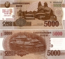 NORTH KOREA     5000 Won      Comm.       P-CS20       J. 102 / 2013 (2017)        UNC - Corée Du Nord