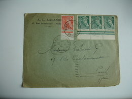1939 Lettre Bande De 3 Timbre Mercure 25 C Bord De Feuille Plus 15 C Bord De Feuile  Obliteration Journee Du Timbre - Postmark Collection (Covers)