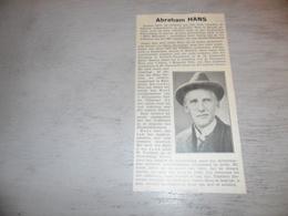 """Origineel Knipsel ( 1718 ) Uit Tijdschrift """" Ons Volk """"  1934 :   Abraham Hans  Maria - Hoorebeke ( Horebeke ) - Oude Documenten"""
