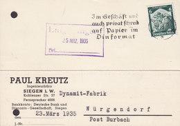 Germany Deutsches Reich PAUL KREUTZ Ingenieurbüro Slogan SIEGEN 1935 Card Karte Dynamit-Fabrik WÜRGENDORF Post Burbach - Deutschland
