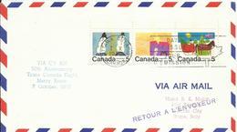 CANADA, SOBRE VUELO A VATICANO CON MATASELLOS DE LLEGADA - 1952-.... Règne D'Elizabeth II