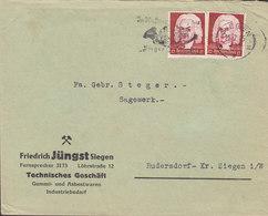 Germany Deutsches Reich FRIEDRICH JÜNGST Gummi- Und Asbestwaren Slogan SIEGEN 1935 Cover Brief 2x Johann Sebastian Bach - Deutschland