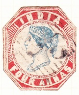 INDIA 1855 4A Deep Blue & Red Die III SG22 Used - Unclassified