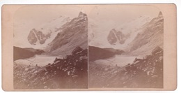 Stereoscopische Kaart  SUISSE.   1887. Pitz Bernina V Der Boval Hutte - Cartes Stéréoscopiques